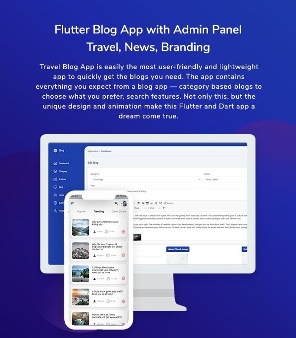 Flutter Blog App with Admin Panel - Travel, News, Branding - 1